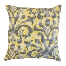 "Coretta Geometric Pillow, Yellow 20""x20"""