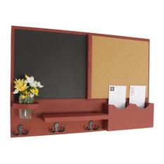 Large Slot Mail Organizer With Chalkboard, Corkboard, Coat Hooks and Mason Jar