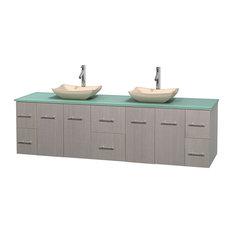 "Wyndham Collection - Wyndham Collection 80"" Double Bathroom Vanity, Gray Oak, Green Glass - Bathroom Vanities and Sink Consoles"