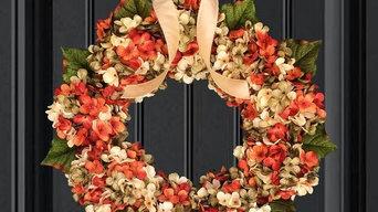 Summer & Fall Orange Wreath for Door