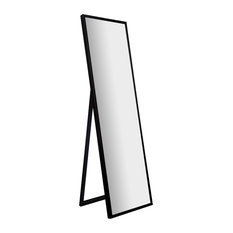 """16""""x57"""" Framed Floor Free Standing Mirror With Easel, Black"""