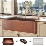 """Fossil Blu - Ultra-Thick 12-Gauge Luxury 33"""" Copper Farmhouse Sink, Includes Grid and Drain - 12-GAUGE COPPER: With over 50 pounds of 99% pure copper, this 12-gauge sink is the thickest & strongest 33"""" copper sink available on the market."""
