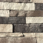 """Mountain View Stone - Stack Stone, Glacier, 7.5 Lineal Ft Corners - Stack stone is a profile that features a combination of sizes that creates an authentic appearance. This stone has drastic variations of thickness, depth, and character copied directly from nature. The stacked stone pattern is clean, contemporary and a favorite among designers and architects. Stack stone is a stone veneer product measuring 1"""" to 2.5"""" thick and therefore thinner than traditional stone siding for easier, lighter handling. All our manufactured stone veneer products are suitable for interior applications such as stone accent walls or stone fireplaces as well as exterior applications such as stone veneer siding. Stack stone is available in boxes of 10 square foot flats, boxes of 7.5 lineal foot matching corners, 150 square foot bulk crates, and samples are also available!"""
