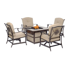 Traditions 5-Piece Fire Pit Chat Set With Cushioned Rockers and Fire Pit Table