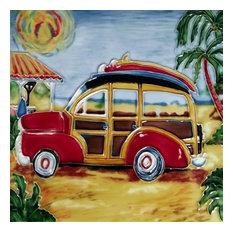 Wood Wagon Red Tile