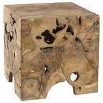 Padma's Plantation - Teak Root End Table - This organic raw teak root end table is an easy way to bring in nature into any space.   Each is unique in its root shape and pattern.    Please note, actual furniture and fabric colors may slightly differ from photos due to lighting and one's individual monitor settings.