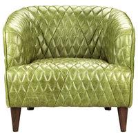 Magdelan Tufted Leather Arm Chair, Dark Green
