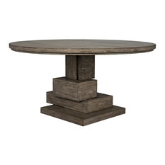 60-inch Dining Table Mahogany Round Distressed Wood Natural Unique Square Base