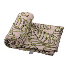 """Leaves Printed Microplush Throw Blanket, Oatmeal/Green, 44""""x60"""""""