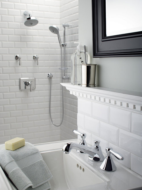 Hexagon tile backsplash houzz for How to put down tile in bathroom