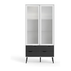Tvilum Diana 4 Drawer and 2 Door China Cabinet in White and Black