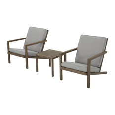 GDF Studio 3-Piece Lester Outdoor Acacia Wood Chat Set With Cushions, Gray