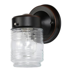 Jelly Jar 1-Light Outdoor Wall Light, Clear Ribbed Glass, Oil Rubbed Bronze