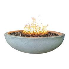 "48"" Concrete Fire Pit Bowl, Natural, Crushed Black Lava Filling, Natural Gas, Tu"