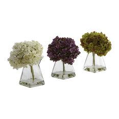 Hydrangea With Vases, 3-Piece Set