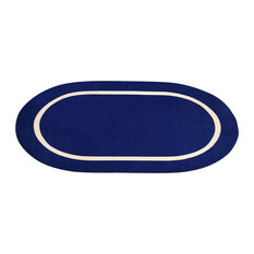 Blue and Creme Montessori Classroom Rug, Oval, 6'x8'6""