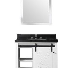 "Eviva Dallas 36"" White Bathroom Vanity with Absolute Black Granite Countertop"