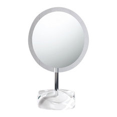 Magnifying Mirror With Round White Colored Base