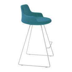 Dervish Wire Stools White Paint Steel Base Turquoise Camira Wool