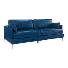 Classic Mid Century Leather Match Sofa, a Low Profile Frame, Navy