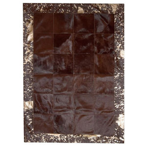Patchwork Leather Cubed Cowhide Rug, Brown With Acid Bronze Border, 140x200 cm