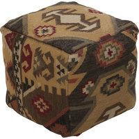 Frontier Pouf, Chocolate Burgundy Olive Black Taupe Gold