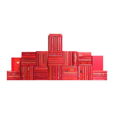 Decorative Books, Modern Red Book Wall, Set of 100