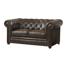 Coaster Roy Pull-Up Bonded Leather Stationary Loveseat, Brown