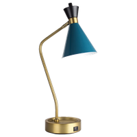 """American Art Decor Metal Desk Lamp With USB Charger, 20.75"""""""