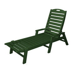 POLYWOOD Nautical Chaise with Arms in Green