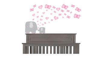 Pink and Grey Elephant, Nursery Wall Deals