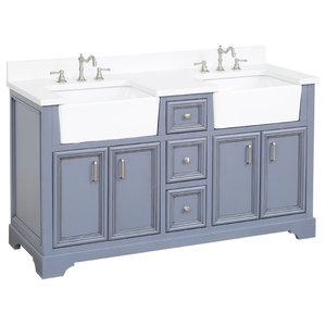 """Zelda Bathroom Vanity, Powder Gray, 60"""", Top: Quartz, Double Sink"""