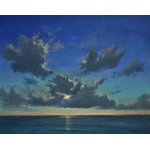 "Original Tropical Caribbean Sunset Seascape Beach Painting, Enchanting Evening - Enchanting Evening is an original 24""x30"" acrylic beach sunset seascape painting on gallery wrap canvas – ready to hang. It is painted around the edges to create a continuation of the image on all sides. This original one-of-a-kind painting captures the dramatic cloud formations, stretching from the horizon to almost overhead. The sun's light washes a variety of gold tones over the clouds and sky."
