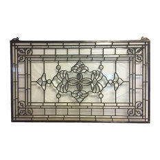 "Stained Glass Clear Beveled Window Panel, 34.5""x20.5"""