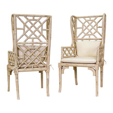 GuildMaster   Guildmaster 657530PCR Bamboo Wing Back Chairs, Cream, Set Of  2   Armchairs