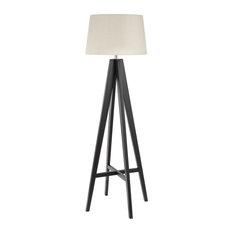 Modern Floor Lamp Tripod Design With Cream Linen Shade