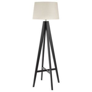 Modern Floor Lamp Tripod Design With Cream Linen Shade