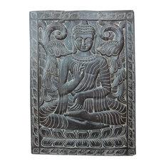 Mogul Interior.com - Consigned Indian Interiors Panel Buddha Hand Carved Wall Hanging 36 X 48 - Wall Decor