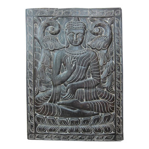Mogul Interior.com - Consigned Indian Interiors Panel Buddha Hand Carved Wall Hanging 36 X 48 - Wall Decor