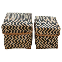Tropical Storage Baskets Set of 2 Tanzania Bamboo Storage Baskets