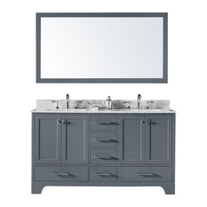 """60"""" Double Bathroom Vanity, Cashmere Gray With Carrara Marble Top and Mirror"""