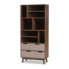 Britta Mid-Century Modern Walnut Brown and Gray Two-Tone Finished Wood Bookcase