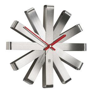 """Ribbon Wall Clock 12"""", Steel"""