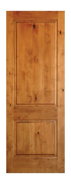 Knotty Alder 2 Panel Square Top Solid Wood Stainable Interior Door Slab,  36x96