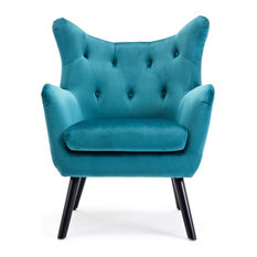 BELLEZE   Mid Century Tufted Wingback Chair, Teal   Armchairs And Accent  Chairs
