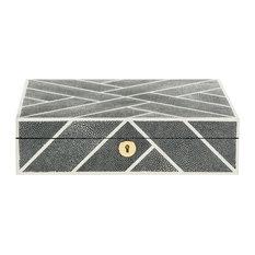 Ebba Faux Shagreen Box, Black