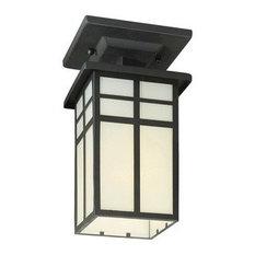 Mission One Light Outdoor Semi-Flush Mount Black Cream Glass