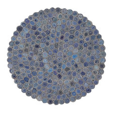 The Round Contemporary Handcrafted Rug, Blue and Grey, 90 cm