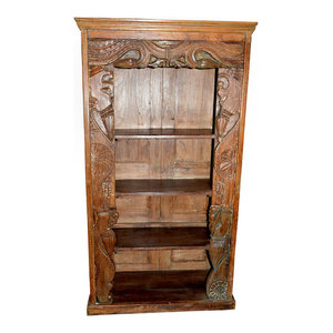 Mogul Interior - Consigned Antique Wood Hand-Carved Bookcase With Chakra Borders - Bookcases