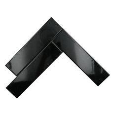 Black Glossy Ceramic Subway Tiles, Liquorice, 10 Square Foot Box